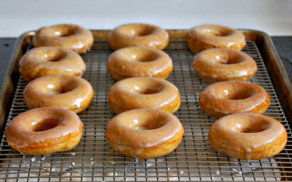Baked Pumpkin Donuts with Vanilla Glaze by The Redhead Baker