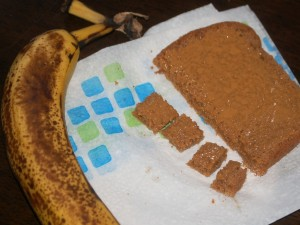 Peanut butter toast and a banana