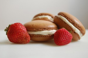 Strawberry Macarons with White Chocolate Ganache Filling | The Redhead Baker