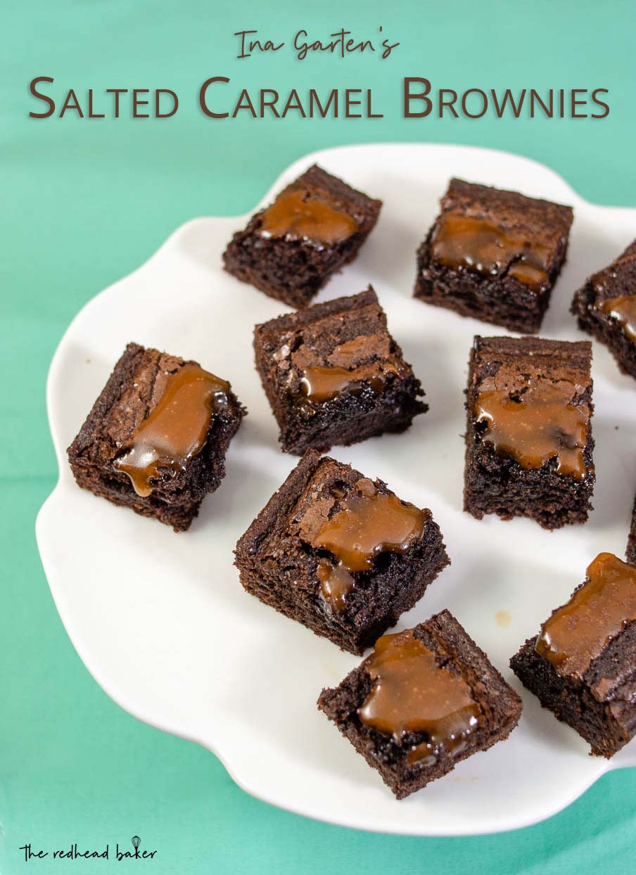 Nine pieces of salted caramel brownies on a serving tray