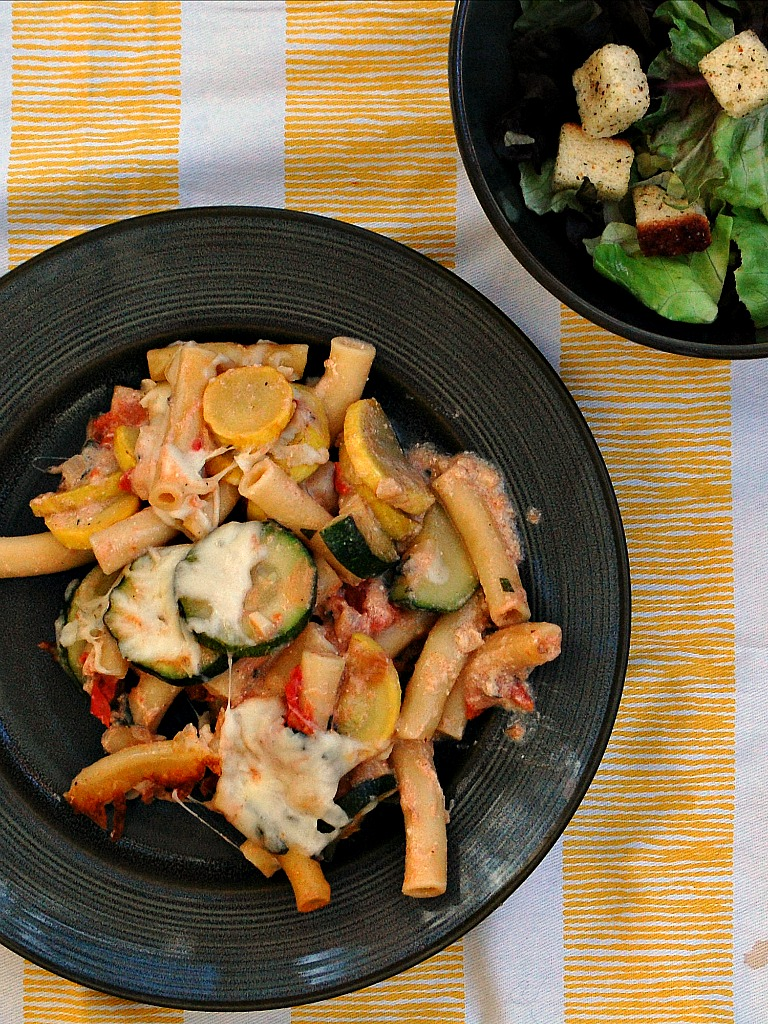 Baked Ziti and Summer Vegetable Casserole