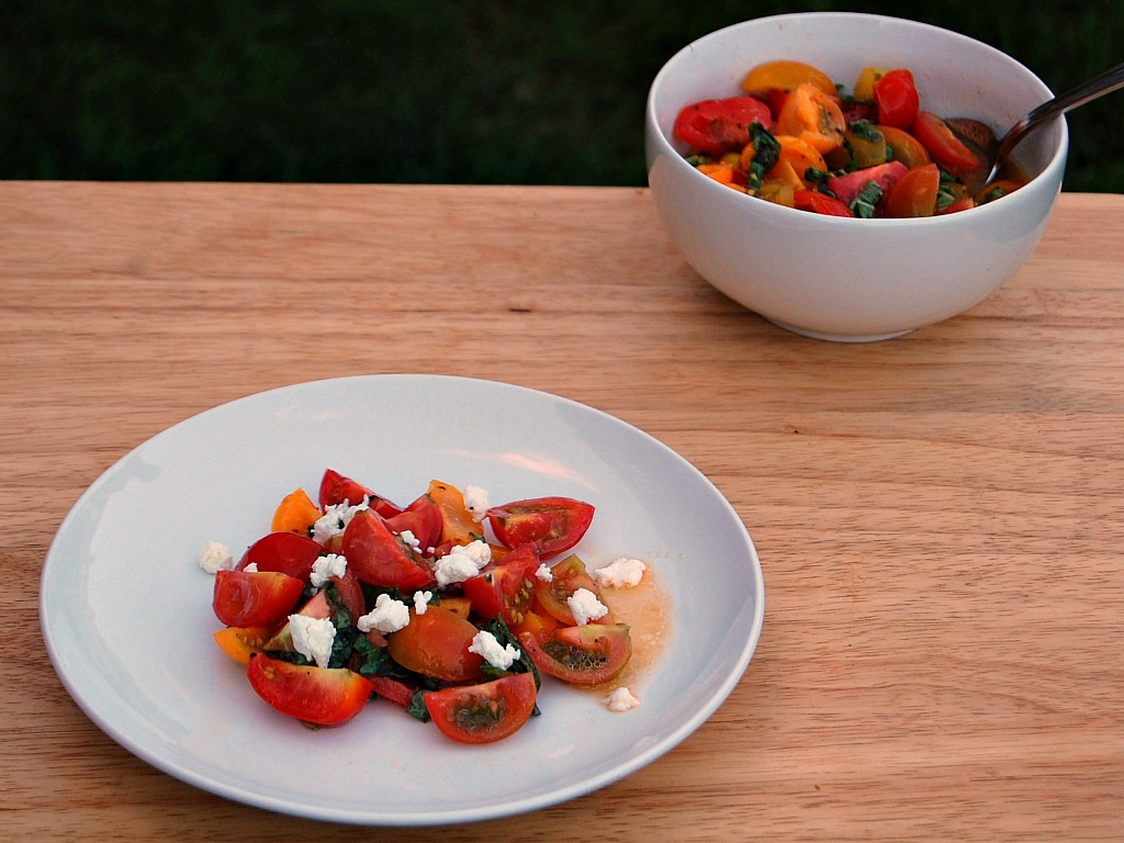 Heirloom Tomatoes with Basil and Chevre