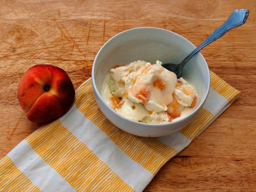 Goat Cheese Ice Cream with Roasted Peaches