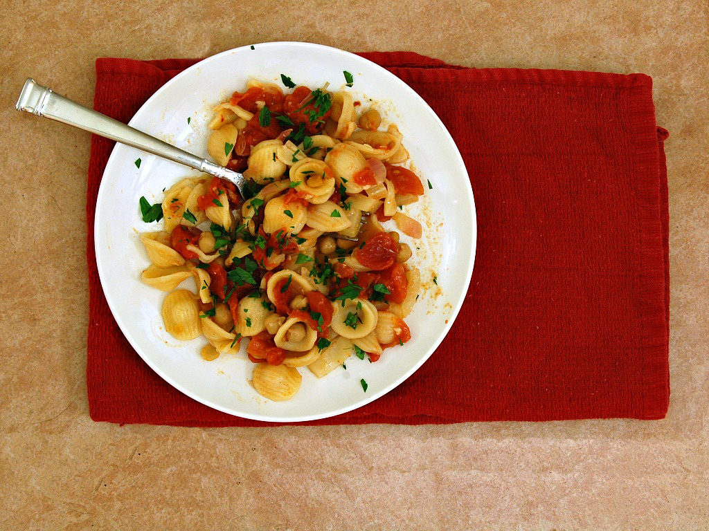 Orecchiette and Chickpeas in Rustic Tomato Sauce