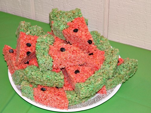 Very Hungry Caterpillar Watermelon Krispie Treats