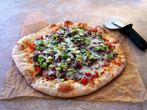Pizza with Ground Lamb, Leeks and Rosemary