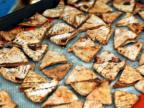 Cinnamon Pita Chips with Cream Cheese Yogurt Dip