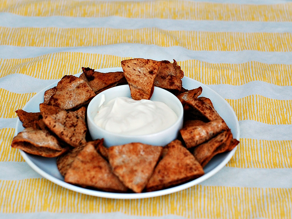 Cinnamon Pita Chips with Cream Cheese Dip
