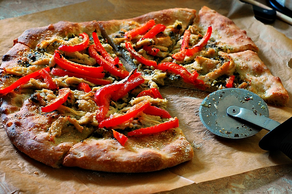 Pizza with Pesto, Chicken, and Bell Pepper