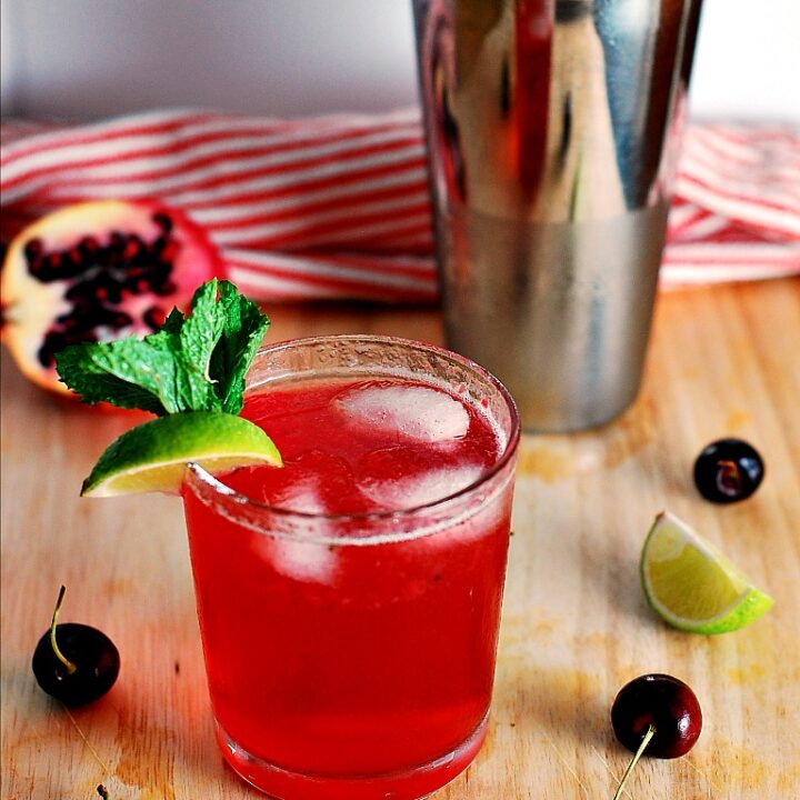 Cherry Pomegranate Mojito #cocktail by The Redhead Baker