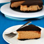 Peanut Butter Cheesecake with Nutella Ganache Topping by @TheRedheadBaker