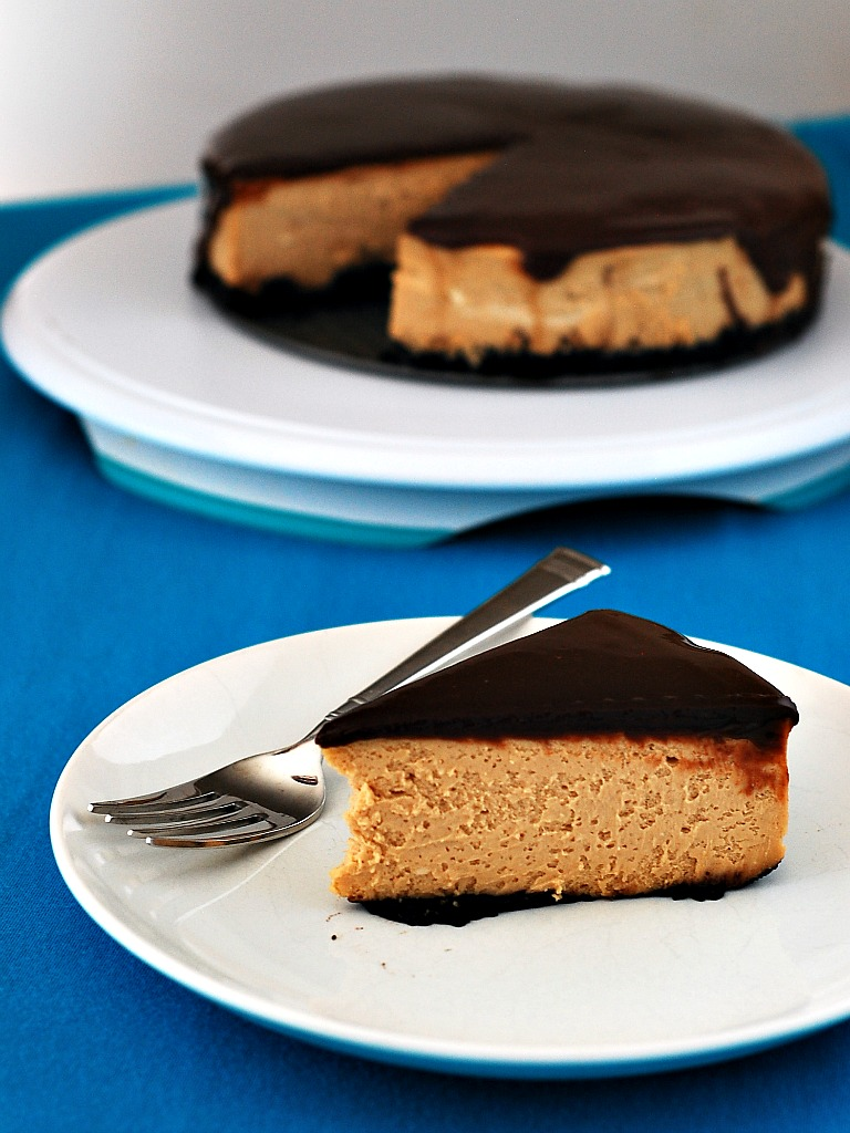 Peanut Butter Cheesecake with Nutella Ganache Topping