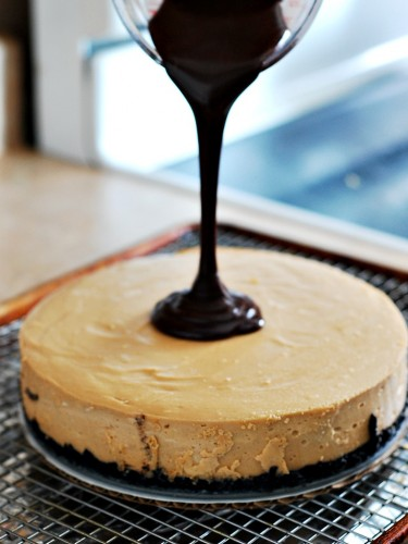 Peanut Butter Cheesecake with Nutella Ganache by @TheRedheadBaker