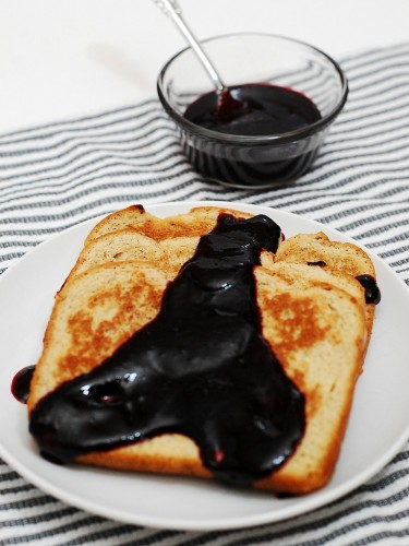 French Toast with Blackberry Sauce by @TheRedheadBaker