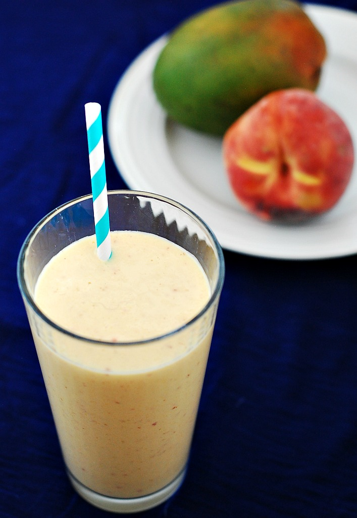 Peach Mango Breakfast Smoothie by @TheRedheadBaker