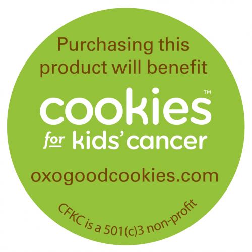 Cookies for Kids Cancer sticker on select OXO products