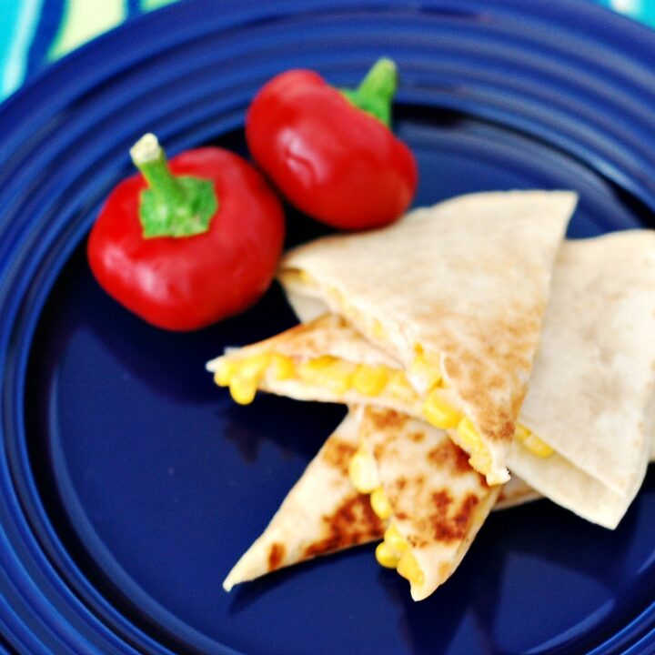 Corn and Cherry Pepper Quesadillas by @TheRedheadBaker #vegetarian #WeeknightMeal #CLBlogger