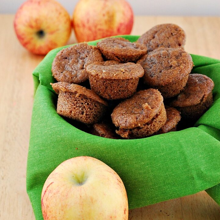 Whole Wheat Apple Spice Mini Muffins by @TheRedheadBaker