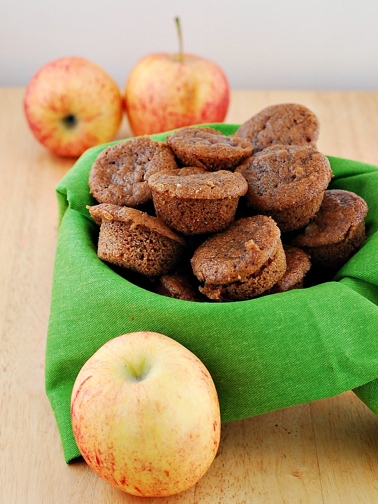 Whole Wheat Apple Spice Mini Muffins by @TheRedheadBaker