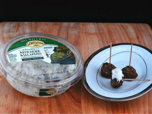 Artichoke and Jalapeño Cocktail Meatballs by @TheRedheadBaker