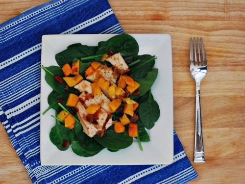 Chicken, Squash and Spinach Salad with Bacon Vinaigrette #WeekdaySupper by @TheRedheadBaker