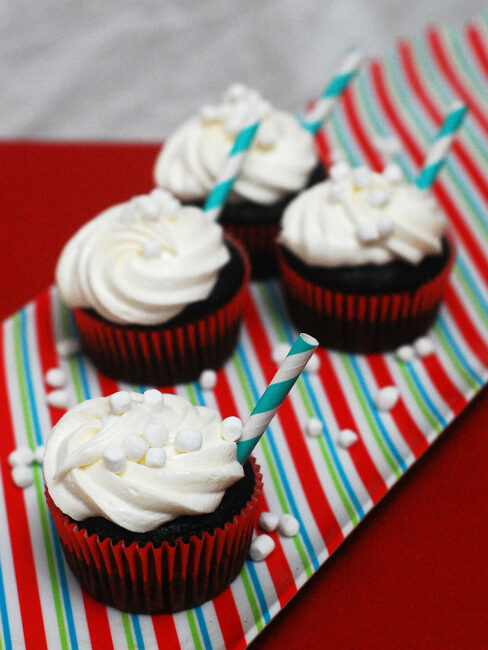 Hot Cocoa Cupcakes with Marshmallow Buttercream #CupcakeDay by @TheRedheadBaker