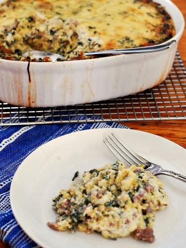 Spinach, Sausage and Polenta Breakfast Casserole #SundaySupper by @TheRedheadBaker