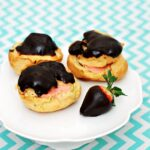 Chocolate Covered Strawberry Cream Puffs #GalentinesDay | theredheadbaker.com