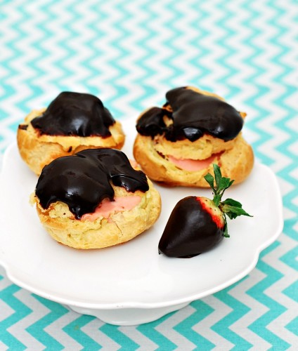 Chocolate Covered Strawberry Cream Puffs #GalentinesDay | theredheadbaker.com