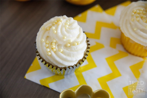 Lemon Curd Filled Cupcakes with Lemon Buttercream Frosting by Tried and Tasty