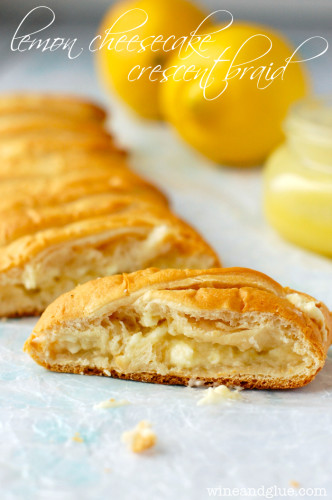 Lemon Cheesecake Crescent Braid by Wine & Glue