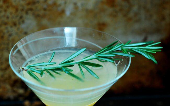 Meyer Lemon Rosemary Martini #SundaySupper   theredheadbaker.com