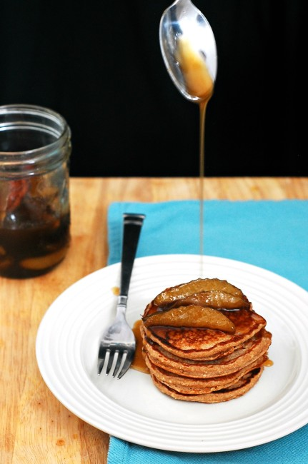 Make your brunch heart-healthy with these cinnamon-oat pancakes, made with rolled oats and Greek yogurt, then drizzle on spiced pear-infused syrup. #BrunchWeek theredheadbaker.com
