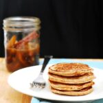 Make your brunch heart-healthy with these cinnamon-oatmeal pancakes, made with rolled oats and Greek yogurt, then drizzle on spiced pear-infused syrup. #BrunchWeek theredheadbaker.com