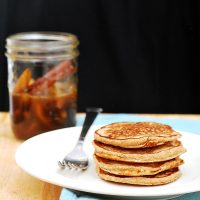 Cinnamon Oat Pancakes with Spiced Pear Syrup #BrunchWeek