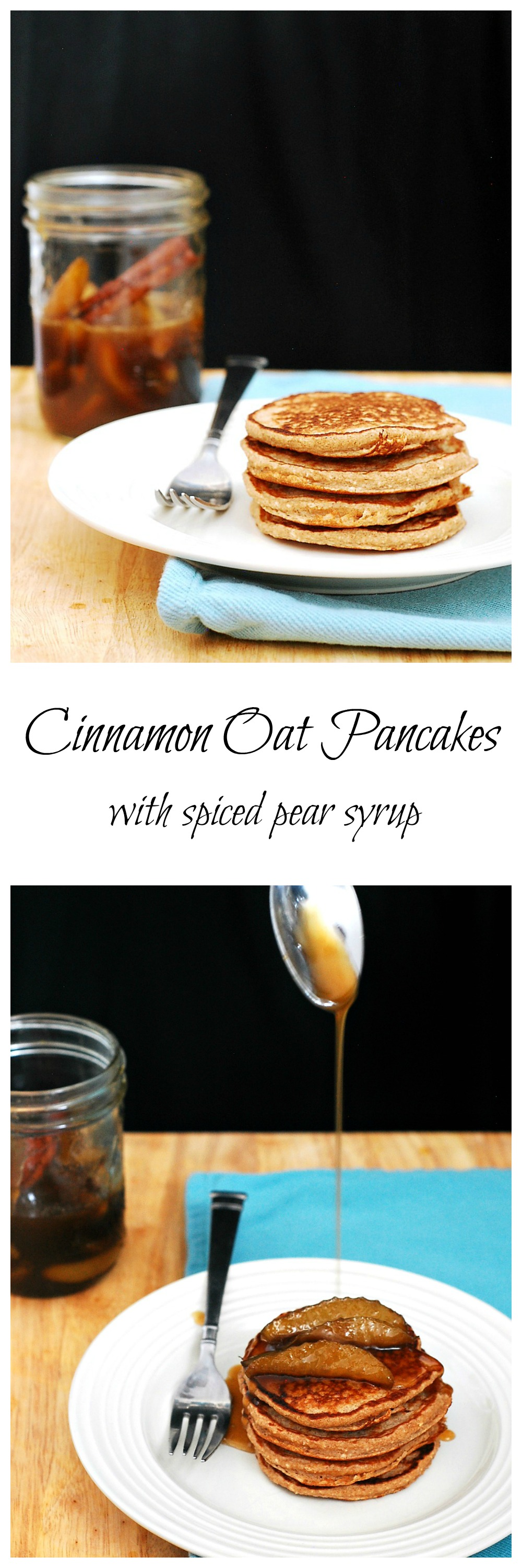 Make your brunch heart-healthy with these cinnamon oat pancakes, made with rolled oats and Greek yogurt, then drizzle on spiced pear-infused syrup. #BrunchWeek theredheadbaker.com