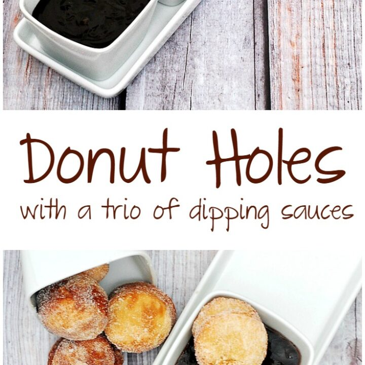 #BrunchWeek continues with sweet sugar-covered fried donut holes, served with three dipping sauces: caramel, chocolate, and blackberry. theredheadbaker.com