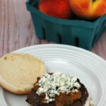 Smoky-sweet barbecue sauce made from local New Jersey peaches, sits atop balsamic burgers. This meal tastes like summer on a plate! #WeekdaySupper