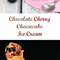 Chocolate Cheesecake Ice Cream with Roasted Cherries