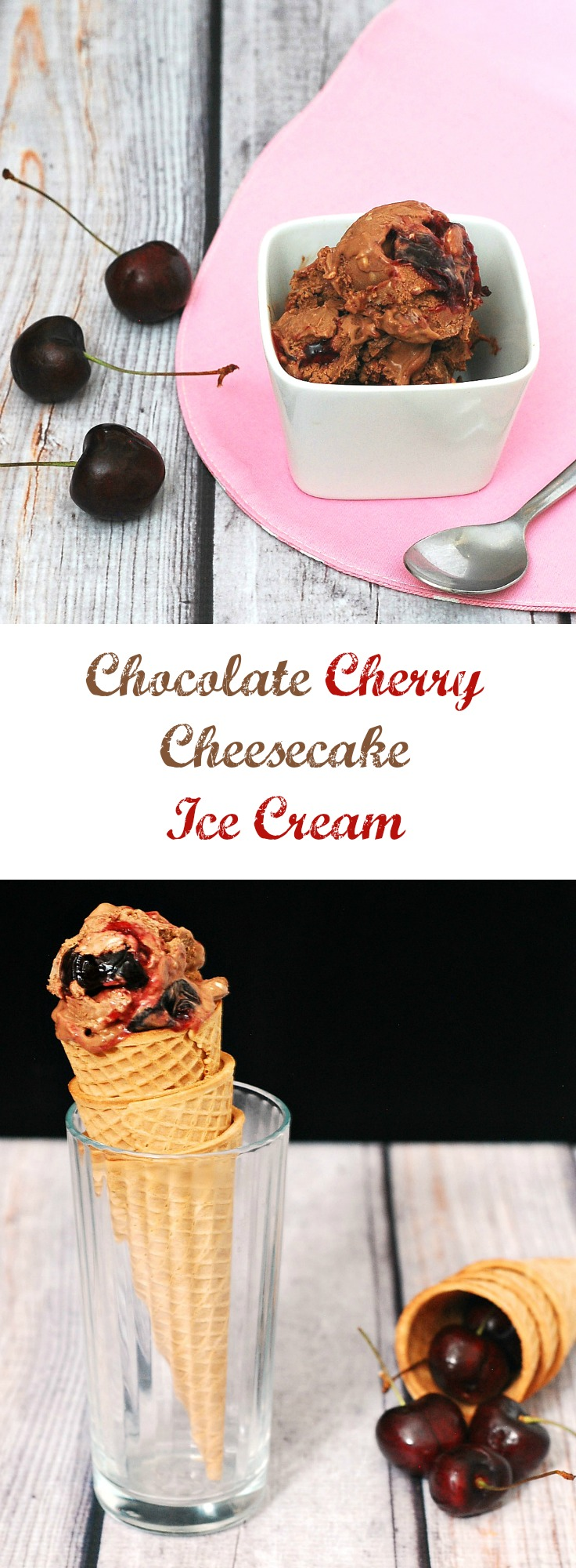 Rich chocolate cheesecake ice cream with swirls of roasted cherries with a hint of vanilla — it's easy to make but so hard to stop eating! theredheadbaker.com