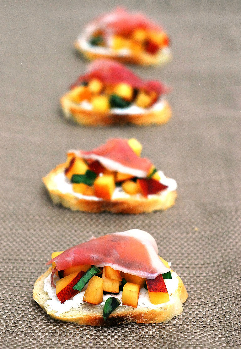 Peach-Basil Crostini