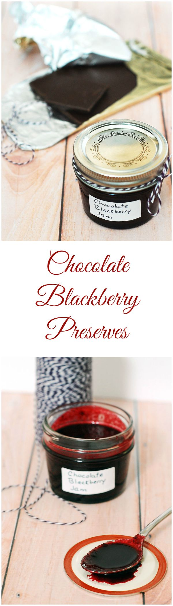 Preserve summer's plump, juicy blackberries in these decadent chocolate blackberry preserves — not quite jam, not quite sauce, but tastes delicious on everything. #SundaySupper TheRedheadBaker.com