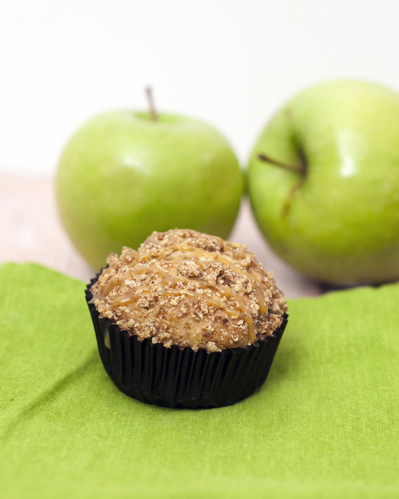 Autumn means apples are in season. Enjoy them in these easy-to-make quintessential fall breakfast muffins: caramel apple streusel muffins. #SundaySupper TheRedheadBaker.com