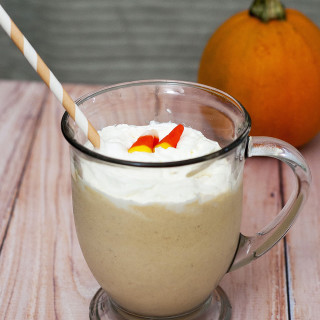 Who says pumpkin desserts are just for chilly weather? Blend pumpkin, spices, cream cheese and ice cream for a decadent pumpkin cheesecake milkshake! #PumpkinWeek