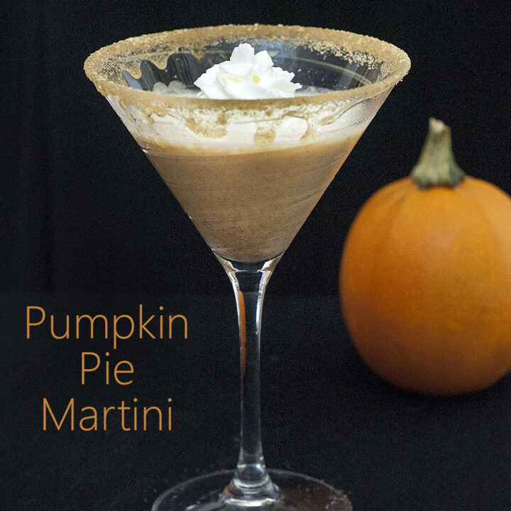 If you find pre-made pumpkin liqueur too cloying, you'll love this pumpkin pie martini made with real pumpkin and spices. #PumpkinWeek