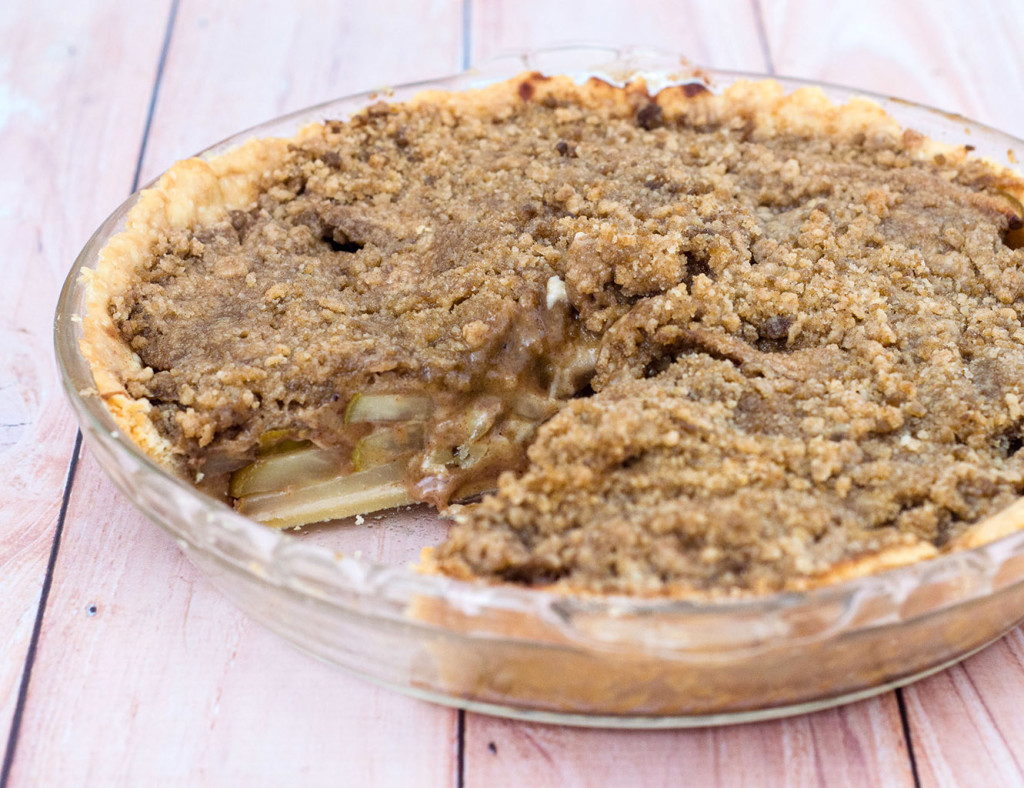 Looking for a change from classic apple or pumpkin pie? Try this delicious spiced pear pie with hazelnut crumb topping. Serve slightly warm with a scoop of vanilla ice cream. TheRedheadBaker.com