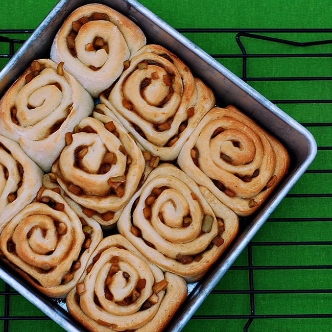 Kick up traditional cinnamon rolls by replacing the cinnamon filling with cinnamon caramel apple chunks. You'll never buy the canned rolls again.