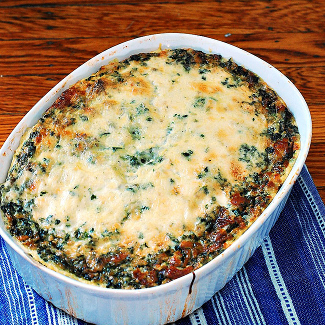 When I think of a casserole, I think of an oven-baked comfort dish. This is a breakfast casserole, with polenta, spinach, sausage and lots of cheese!