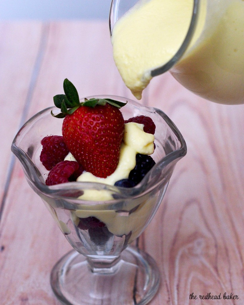 Creme anglaise is a classic French recipe for vanilla sauce. Use it to top any number of desserts, or churn it into ice cream! #SundaySupper TheRedheadBaker.com