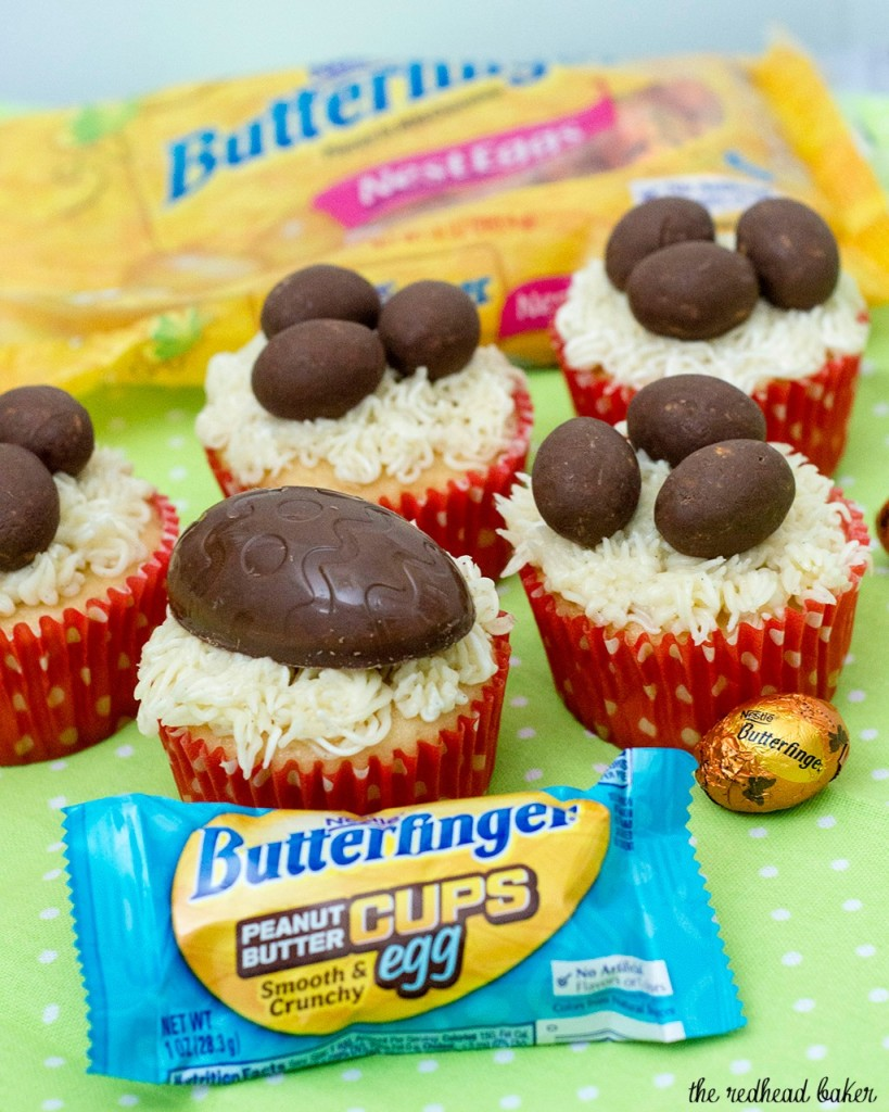 Turn your favorite cupcake recipe into these adorable Easter Basket Cupcakes, topped with @BUTTERFINGER® NestEggs! Kids of all ages will love them! #EggcellentTreats